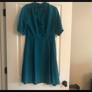 Women's Size 6 Banana Rep 100% Silk Dress Teal